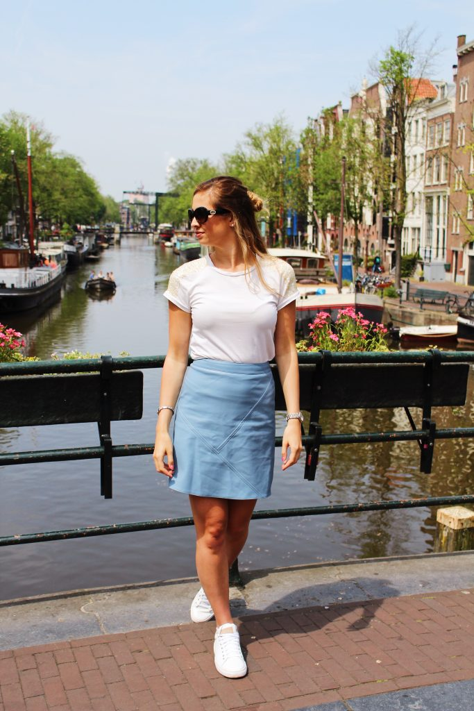 City Days Ams – Blue Leather Skirt