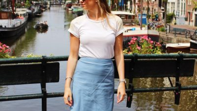 City Days Ams – Blue Leather Skirt